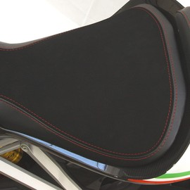 Seat rider no-slide leather/neoprene black